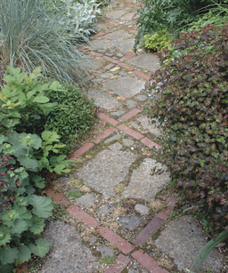 broken concrete and brick path