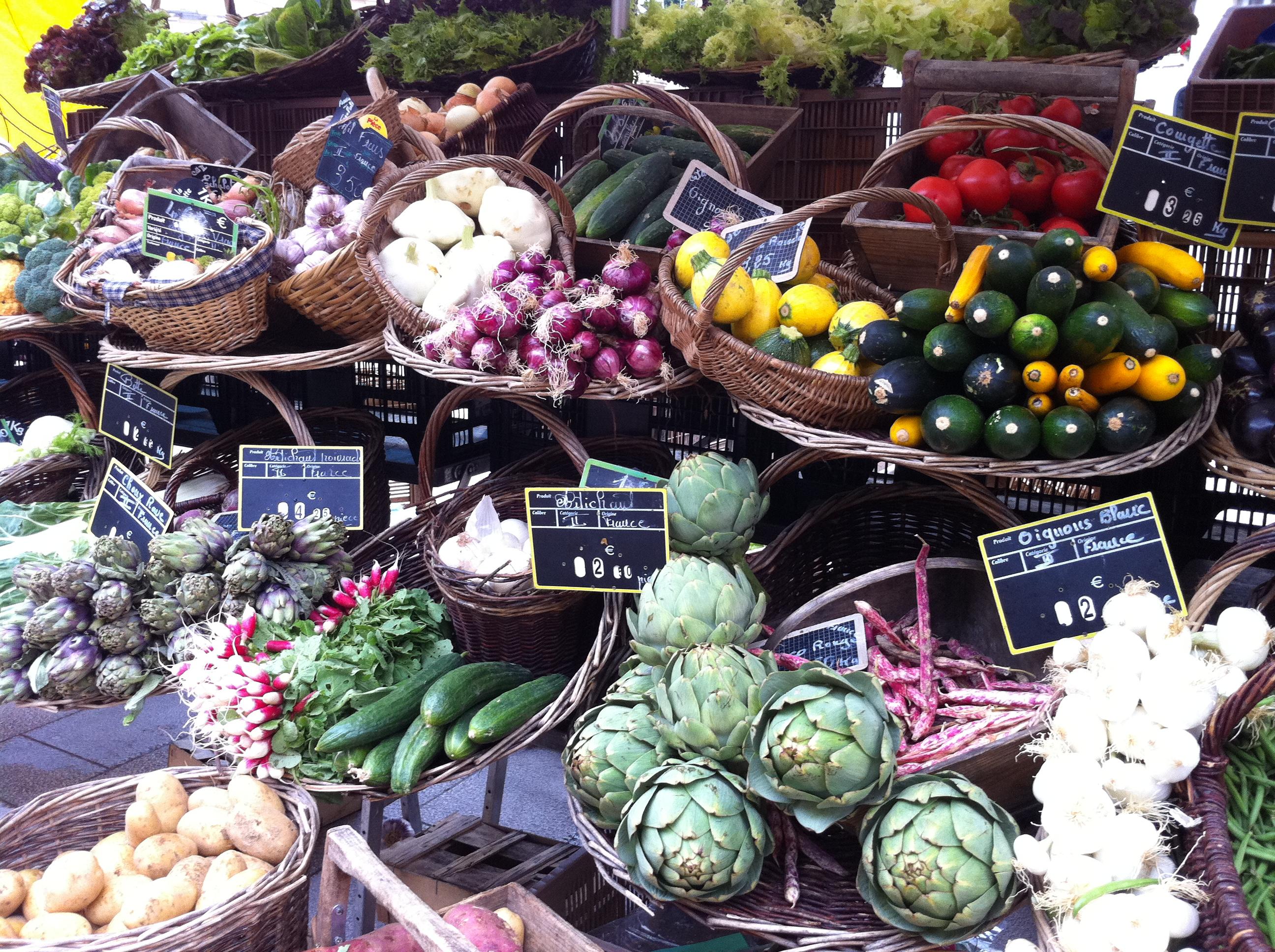 an artful farmer's market display